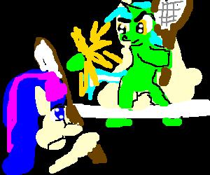 Lyra and Bon-Bon are playing Tennis