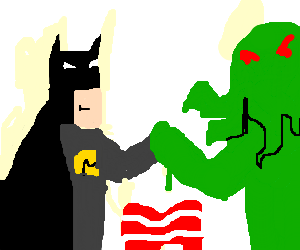 Batman and ctuhulu duel for bacon