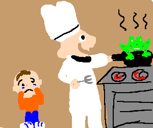 happy chef cooks spotty frog and boy is upset