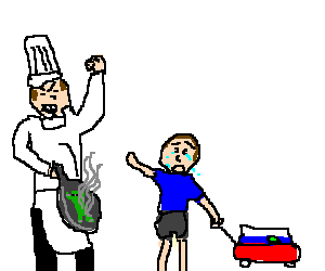 A chef cooking a boy's frog ):