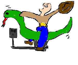 cowboy pays a nickel to ride on giant snake god