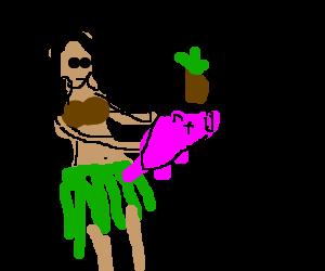 hula girl serves you roast pig and pineapple