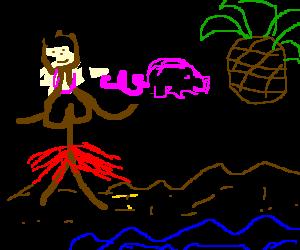 Topless Hawaiian serves pig a pineapple