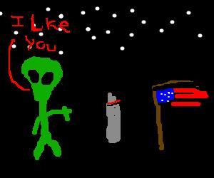 Green alien feels up startled astronaut