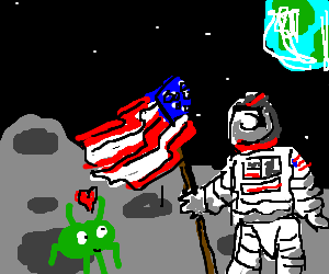 a green alien likes an american astronaut