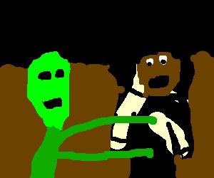 Alien molests black astronaut