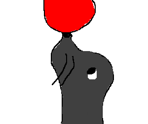 Seal with a red ball on nose