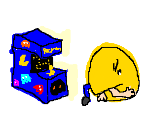 pac man eats boy playing the arcade game
