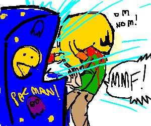 Pacman escapes from the game and eats a player