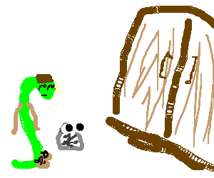 Human snake and rock companion watch doors.
