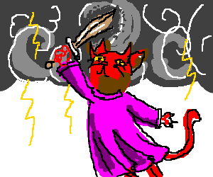 devil cat in dress raises sword in thunder storm