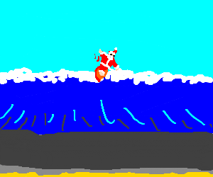 Santa Clause surfing at the beach