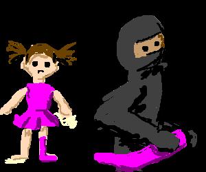 Girl's sock is stolen by a ninja
