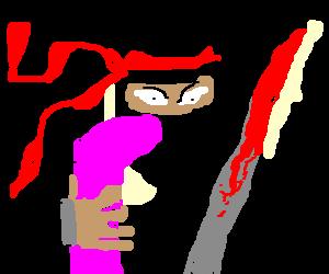 Ninja stealing a girl's pink boot