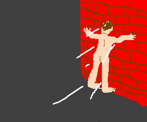 Nude man runs into brick wall (jackass?)