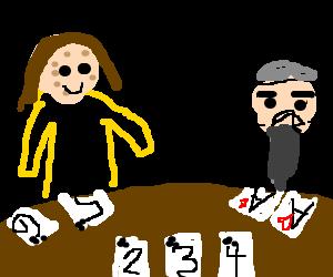 Warty Jonathon Ross wins poker against dwarf