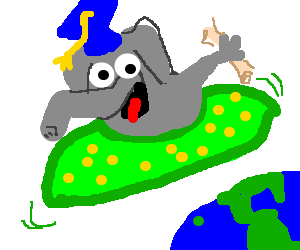 Graduated elefant in a green UFO w/ yellow dots