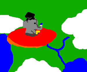 graduating elephant flys saucer over earth