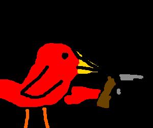 robin with a gun