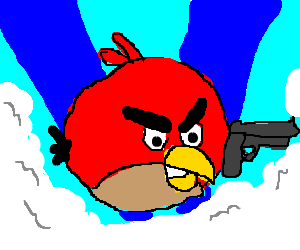 Literal Angry Bird is fed up and has a gun