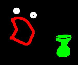 Shoop da whoop monster hates green vase