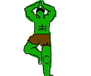 The Hulk doing Yoga