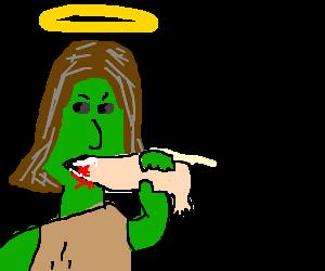 Hulk Zombie Jesus snacks on a leg