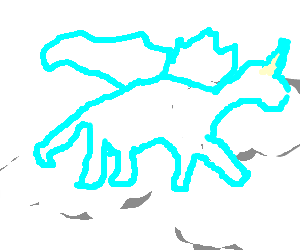 Transparent unicorn flying through clouds