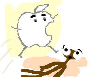 Apple Man jumping over E.T.