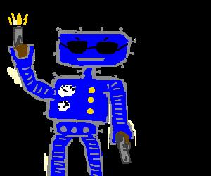 blue robot shoots like a madman