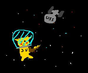 Pikachu lost in space USS Enterprise in backgrnd