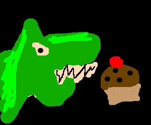 Green Mongoose Dog misses cupcake