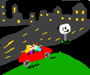 Couple in car on hill at night,10miles from city