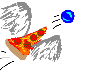 Flying piece of pizza chases blue ball
