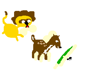 A lion eating a deer eating grass eating a bug