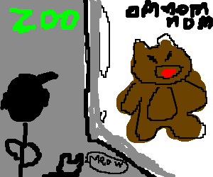 A man and a cat watch a bear eating in a zoo