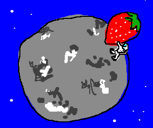 Close up of moon astronaut's giant strawberry.