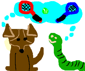 Brown dog and green worm thinking about tennis