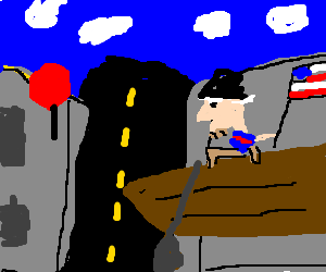 George Washington crossing the street.
