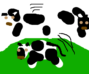A cow jumping over a cow jumping over a cow