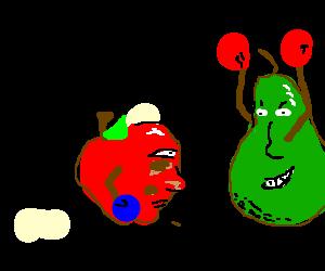 pear nearly KOs an apple