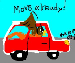 Gryffin stuck in traffic