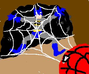 Spiderman gets Batman stuck in web. Batman sad.