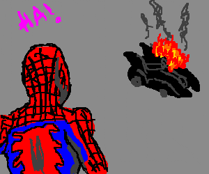 Spiderman jealous of Batman's Drawception fame
