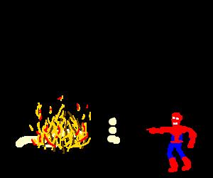 Batmobile on fire.  Spiderman is amused!