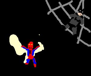Spiderman laughs as he traps Batman in his web