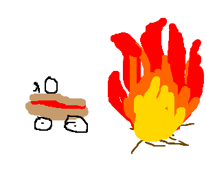 Marty drives hotdog, leaves pile of fire behind