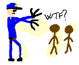 Policeman with claws molests two men in brown