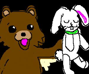 Pedobear has a white bunny