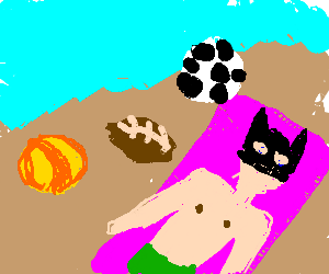Batman sunbathing on the beach with three balls.